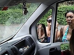 Flashing cock in van