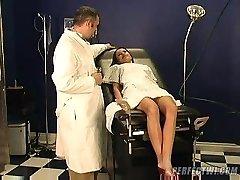 medic takes care of youthfull frigid girl