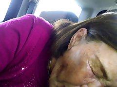 Old Korean Asian Woman Sucking BBC dry in car.