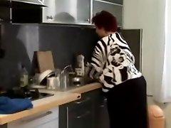 Fat BBW granny fucked in the kitchen