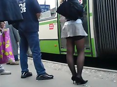 real girls,  real life stockings in the street