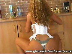 Zusanna playing in kitchen