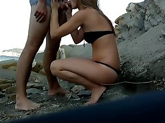 My girlfriend fucked by a stranger on a beach