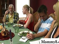 Petite teen in a threesome with stepmom