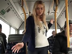 wild horny blonde fucking on a bus