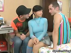Brunette Ksusha enjoys double penetration.