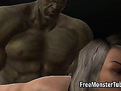 3D babe sucks cock ja muutub fuckedh raske Hulk