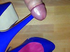 Cum on blue high heels