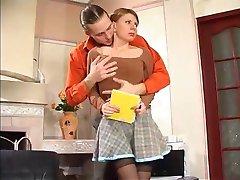 ruská holka kurva a cum na její punčochy