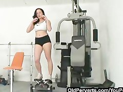Nasty workout and gym orgasm
