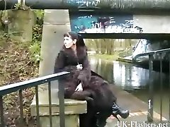 Skinny goth masturbating in public for tattoo