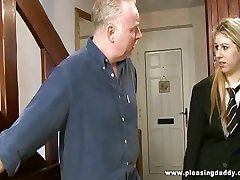Two old farts shave and fuck young pussy