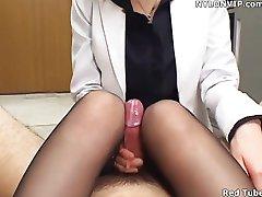 office lady handjob nylon footjob panty