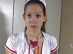 POV Verpleegkundige lijnen en zuigt en schuift haar kut over je pik