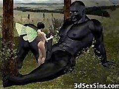 Ogres Jizz On 3D Babes!