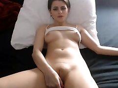 Sexy babe nips fingering fat cameltoe pussy
