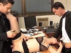 Secretary fucks two. Dual penetration.