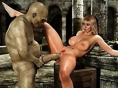3D Busty Jenter som Brukes av Orker og Minautors!