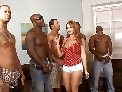 Five multiracial folks lineup so that housewife Janet Mason can choose the best