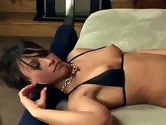 Brunette blowjob and foot sex in fishnet tights