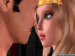 3D-blonde prinsessen suger kuk og blir knullet hardt