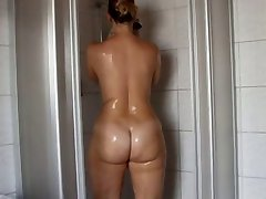 Brunette in the shower - beautiful ass