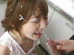 Asiater Sprengt Med Cum Ansiktsbehandlinger - Japansk
