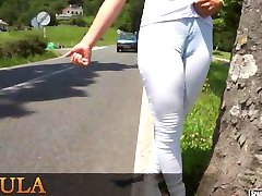 Walking around the city flashing her cameltoe