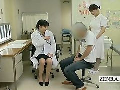 Textade Japansk läkare sjuksköterska avrunkning med cumshot