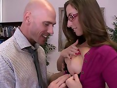 Super sweet british brunette with glasses office fuck