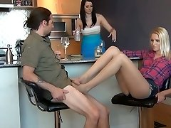 Under the Table Stocking Foot Wank While Fiance is Unaware
