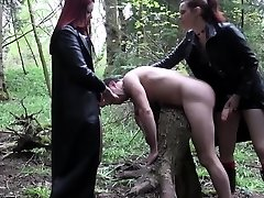 Goth femdoms pegging worthless dork together