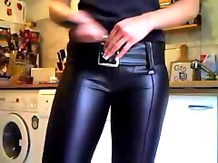 Woman in miss sixty leather pants