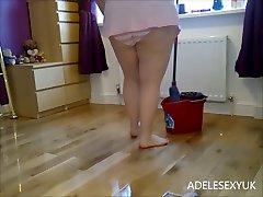 upskirt moping the floor