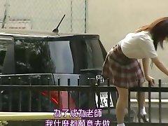 Japanese teen is fucked on toilet