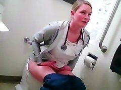 blond nurse in rest room
