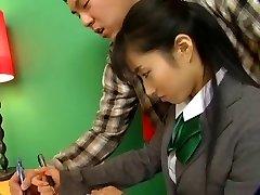 Hot Jap Doll In School Uniform Rides The D