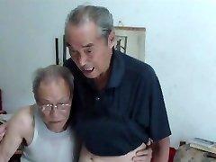 Japanese old men comparing cocks