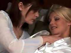 mature girl/girl make out with super-steamy blond