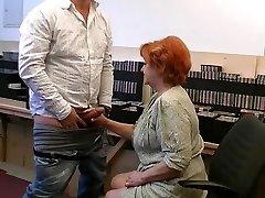 Grandmother gives a gummy blowjob