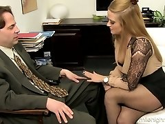 Office whore Holly Heart takes off hooter-sling and micro-skirt and entices one kinky man