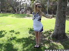 Petite cheerleader gets tight pussy banged