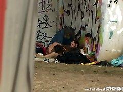Unspoiled Street Life Homeless 3some Having Sex on Public