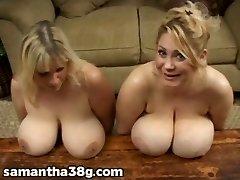 2 Big Tit MILFS Shake Titten und Reiben Brustwarzen
