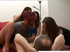 Cock tugging cfnm party whores