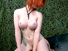 Hot natural redhead with big boobs fucks a guy