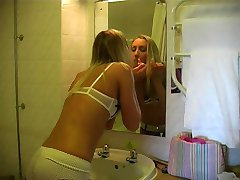 Hot blonde squirts in her panties