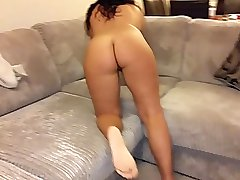 Posh English strips with perfect pussy facesitting POV