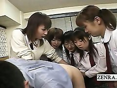 Untertitelt CFNM Japanese schoolgirls teacher anal party