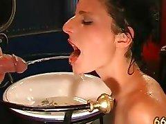 Horny dirty brunette girl drinking piss part4